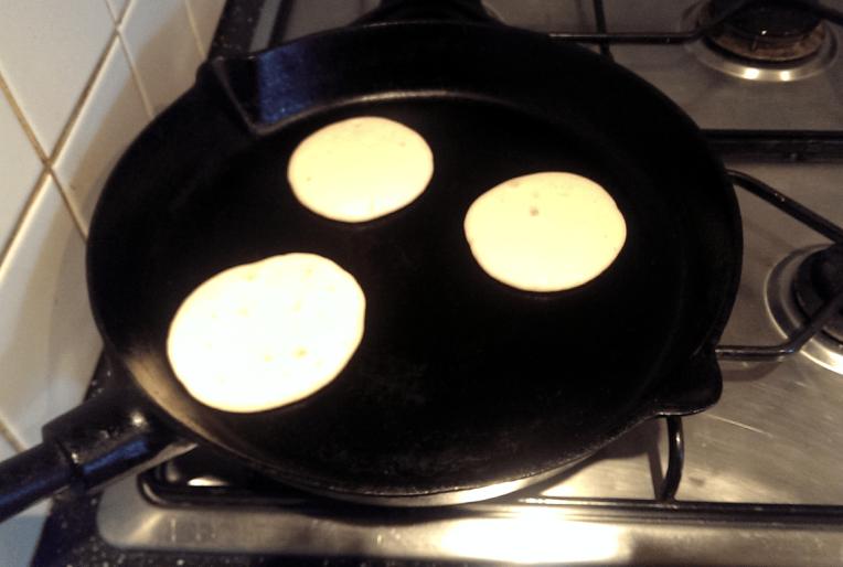 Pancake batter in the pan
