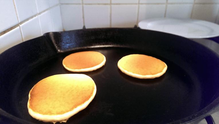 Flipped silver dollar pancakes