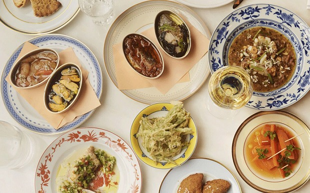 Portuguese feast: a range of dishes at Nuno Mendes's new restaurant, Taberna do Mercado Photo: Joe Woodhouse